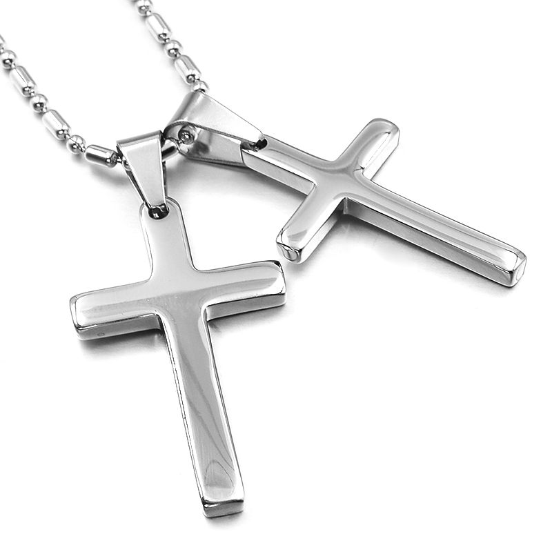 Fashion Jewelry Accessories,Crucifix Lovers Pendant Necklace for Men Women Silver Color Charms Small Cute Cross jewellery,WP845
