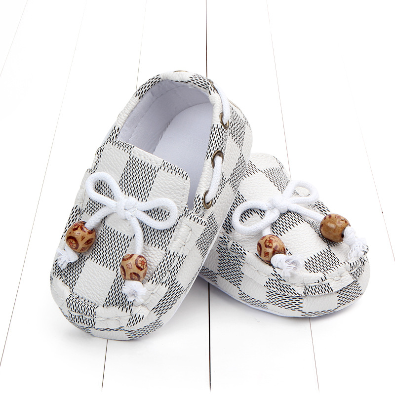 New fashion high quality newborn baby boy shoes moccasins Patch Slip-On plaid casual new born infant toddler baby girl shoes 4