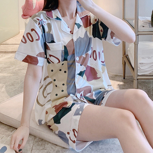 2 Pcs/set Women Pajamas Set Cute Print Short Sleeve Top And Shorts Casual Comfortable Lady Home Sleepwear Suit Homewear
