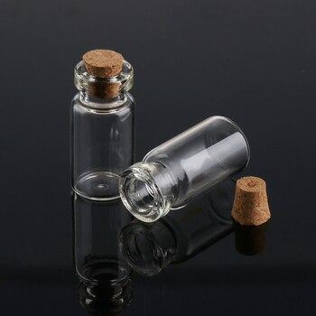 Botellas vacías con ampollas de vidrio transparente de 2/3/10ml, botellas vacías para los deseos, botellas de mensajes transparentes con tapón de corcho, minicontenedores de 10 unidades