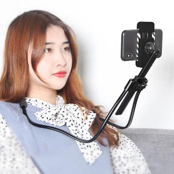 Flexible 360 Degree Rotation Tablets Phone Holder Hanging Neck Bracket Stand image