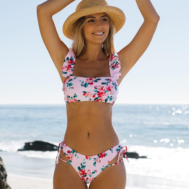 Miturn 2021 New Pink Printed Ruffle Low Waist Two Pieces Bikini Set Swimsuit Female Women Beachwear Swimwear Bather Bathing Suit