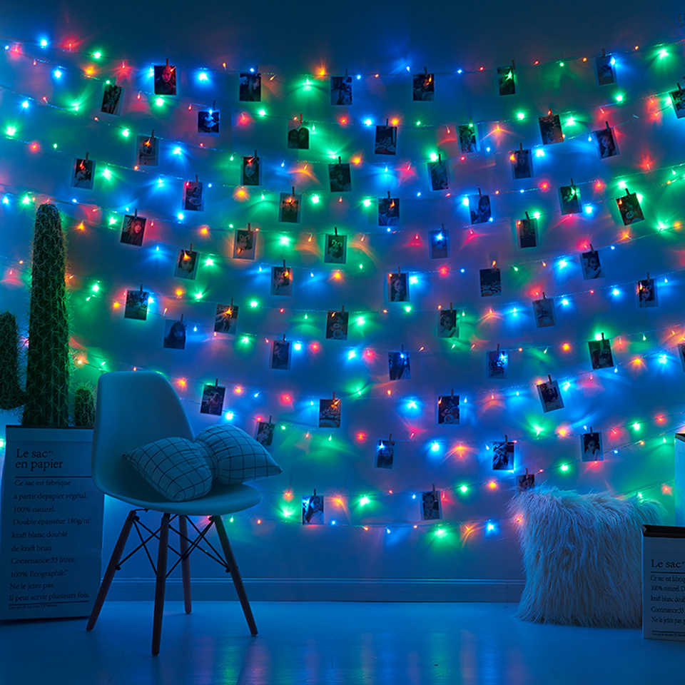 Garland LED 2M 5M 10M USB LED Light Strings Christmas Fairy Light สำหรับถ่ายภาพคลิป String ไฟแบตเตอรี่ Powered งานแต่งงานกลางแจ้ง