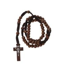 Wooden Beads Rosary Necklaces with Jesus Imprint Cross Religious Jesus Jewelry(China)