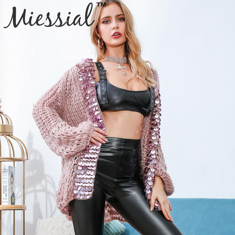 Miessial Pink Knitted Sequins Sexy Long Cardigan Women Winter Long Sleeve Elegant Sweater Female Autumn Warm Party Club Sweater