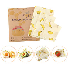 3PCS Reusable Wrap Seal Food Fresh Keeping Wrap Lid Cover Stretch Vacuum Food Wrap Beeswax Cloth Kitchen Tools(China)