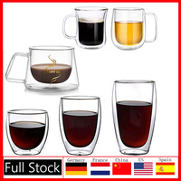 New Coffee Mug Double Layers Wall Glass Insulated Milk Coffee  Mug Cup With Handle For Hot Cold Beverage Heat Insulation Office|Mugs| |  -