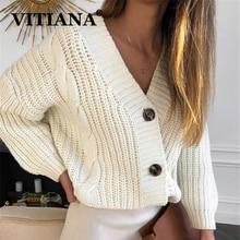 VITIANA örgü kazak kadınlar sonbahar 2019 kadın Casual uzun kollu düğme hırka örme kazak ceket Femme kış sıcak giysiler