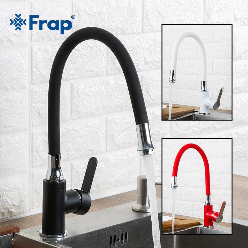 FRAP, grifo de cocina, estilo moderno, flexible, fregadero de cocina, mezclador, grifos, manija única, color rojo, blanco, negro, agua fría y caliente