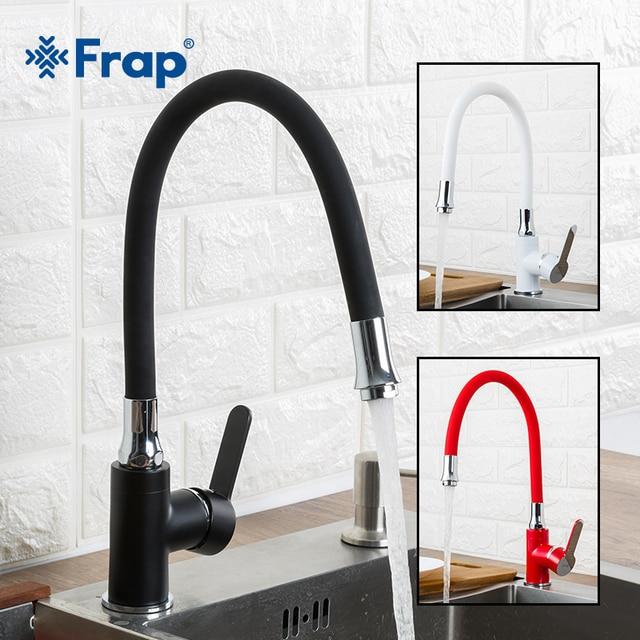 Torneira de cozinha frap, estilo moderno, flexível, misturador de pia, torneira, único punho, vermelho, branco, preto, cor fria e quente água