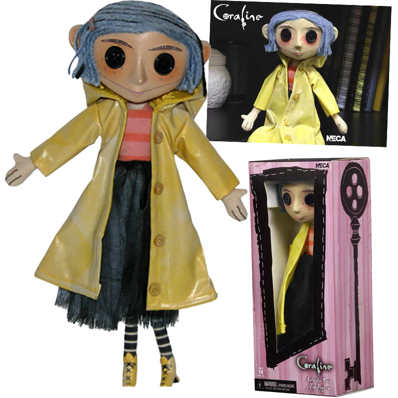 Coraline <font><b>Doll</b></font> NECA The Secret Door Coraline y <font><b>la</b></font> Puerta Secreta Raincoat Coraline Action Figure Model Toys <font><b>Doll</b></font> For Gift image