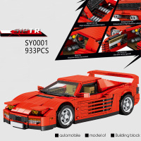 Classic Technics super sport car building block italy horse logo Ferra 512TR assemble model vehicle brick toy collection
