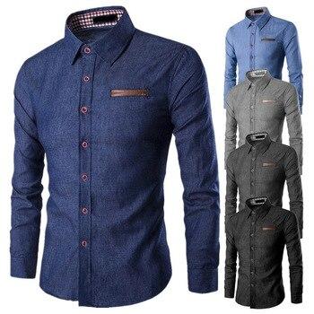 ZOGAA Spring Explosion Men's Casual Long Sleeve Shirt Pocket Patchwork Slim Denim Cotton Shirt Turn-down Collar Business Shirt button down long sleeve pocket shirt