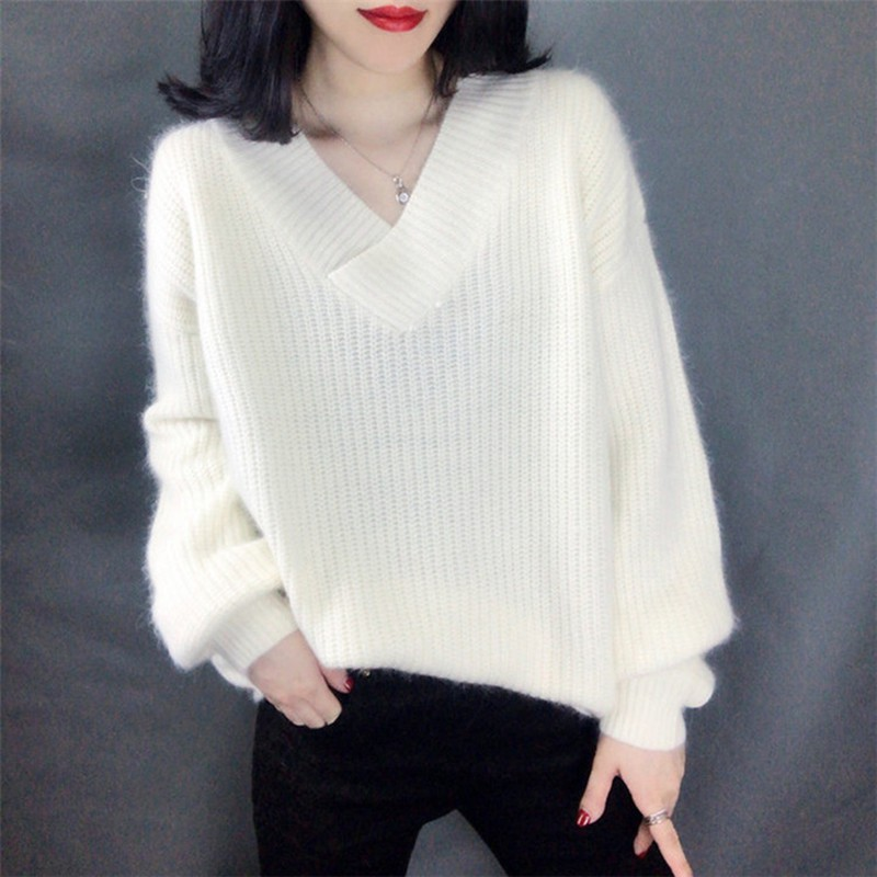 Loose Casual Lantern Sleeve Mohair Thicken Sweater Women Fashion Trend Simple V-neck Solid Color Pullover Sweater