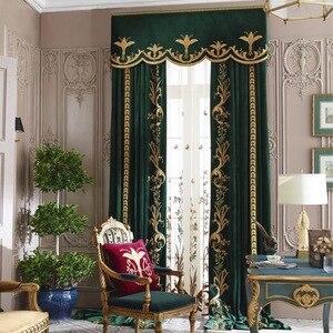 Cortinas de terciopelo bordadas de alta gama para Villa, dormitorio, sala de estar, dormitorio, ventana, pantalla de lujo, faldones de cortinas de tul
