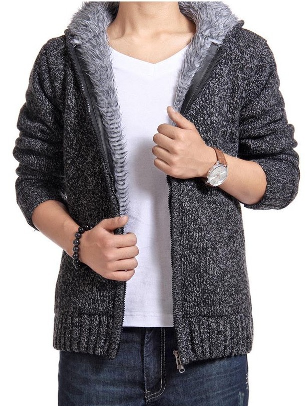 Mens Plus Size Thick Velvet Fluffy Sweater Coat Hooded Mens Large Size Long Sleeve Knitted Cardigan Grey Wool Sweater Male 2xl