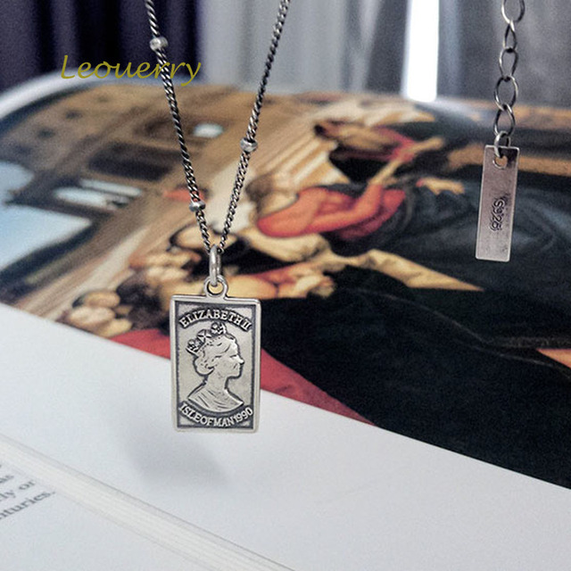 Фото leouerry 925 пробы серебро британская королева квадратная подвеска цена
