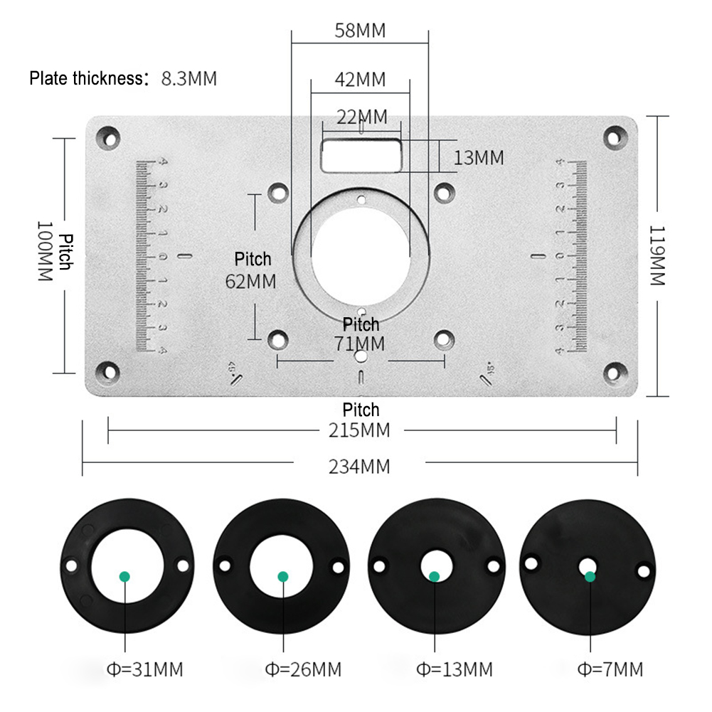 Router Table Plate 700C Aluminum Router Table Insert Plate With 4 Rings Screws For Woodworking Benches