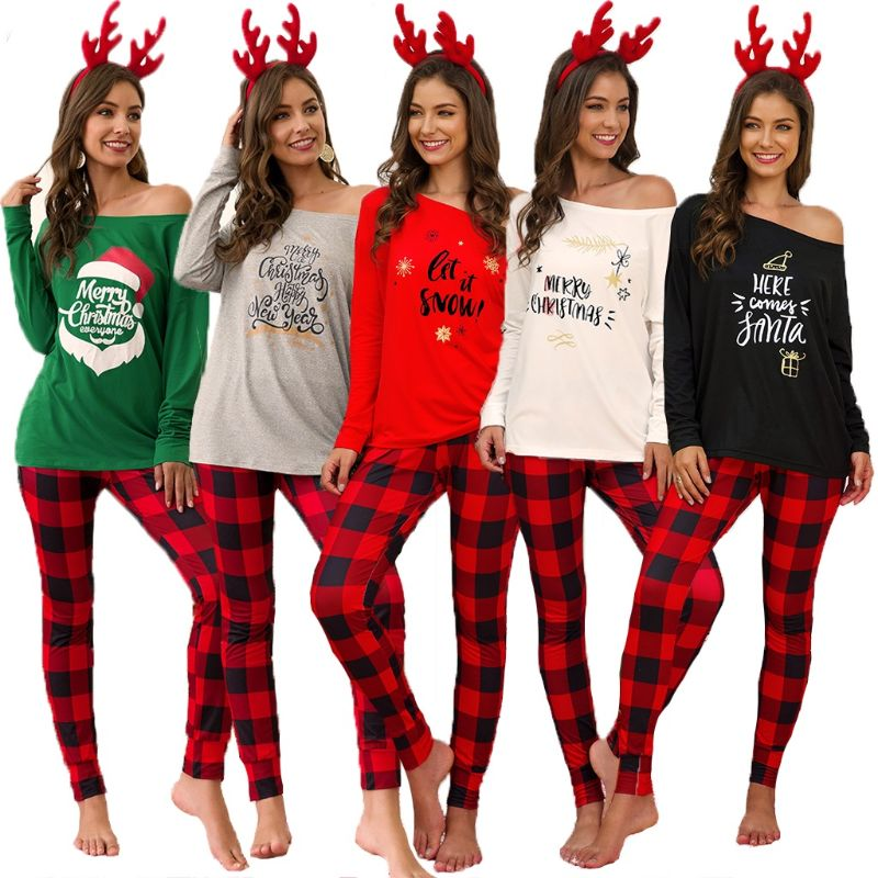 Women Xmas Letter Print Off Shoulder Christmas Party Plaid Nightwear Pyjamas PJS