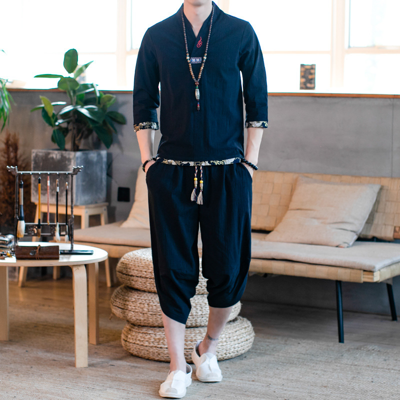 2019 Summer Chinese-style Set Men's Ethnic-Style Flax Set Short Sleeve T-shirt Three-quarter-length Sleeve Cotton Linen Two-Piec