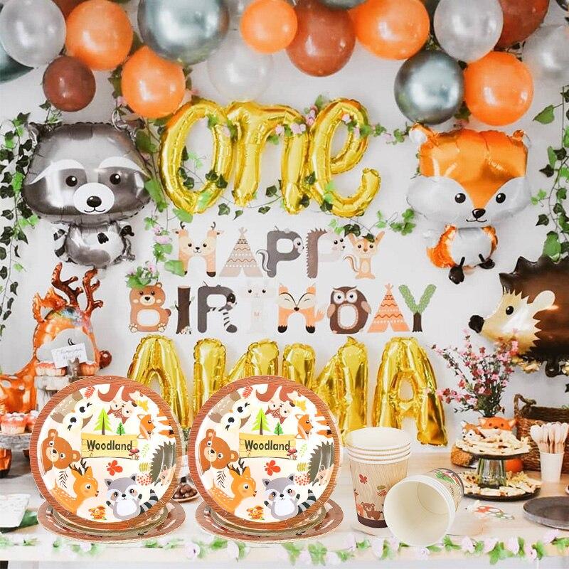 Набор посуды из лисы и енота, вечерние, одноразовые, воздушные шары из фольги в виде животного, для детей 1 год, день рождения