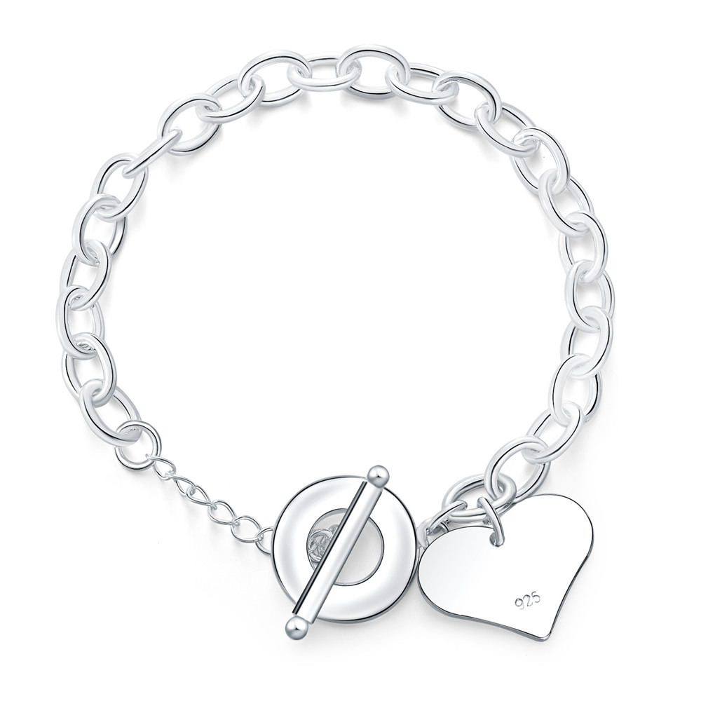 Fashion Smooth Love Heart Charm Bracelet for Women 925 Sterling Silver Bracelets Female Hand Chain Wristband pulseira Best Gift