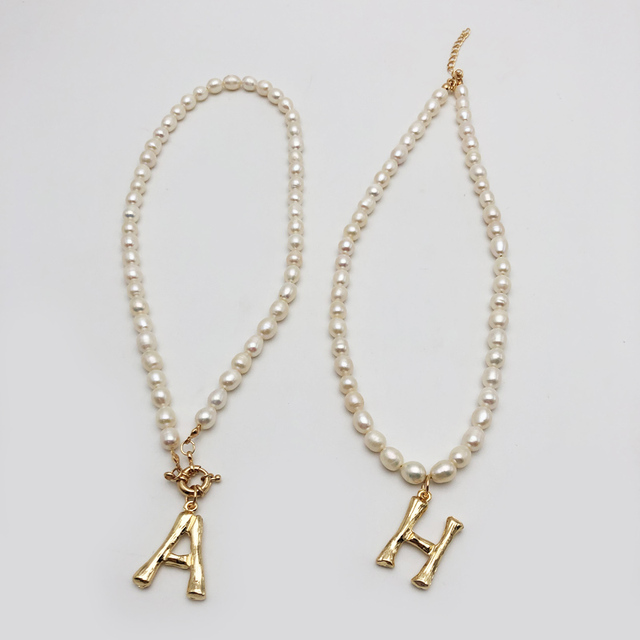 Genuine Pearl 26 Letters Choker A-z Customized English Letter Pendant Necklace Gold Color English Necklace Beaded Pearl Jewelry