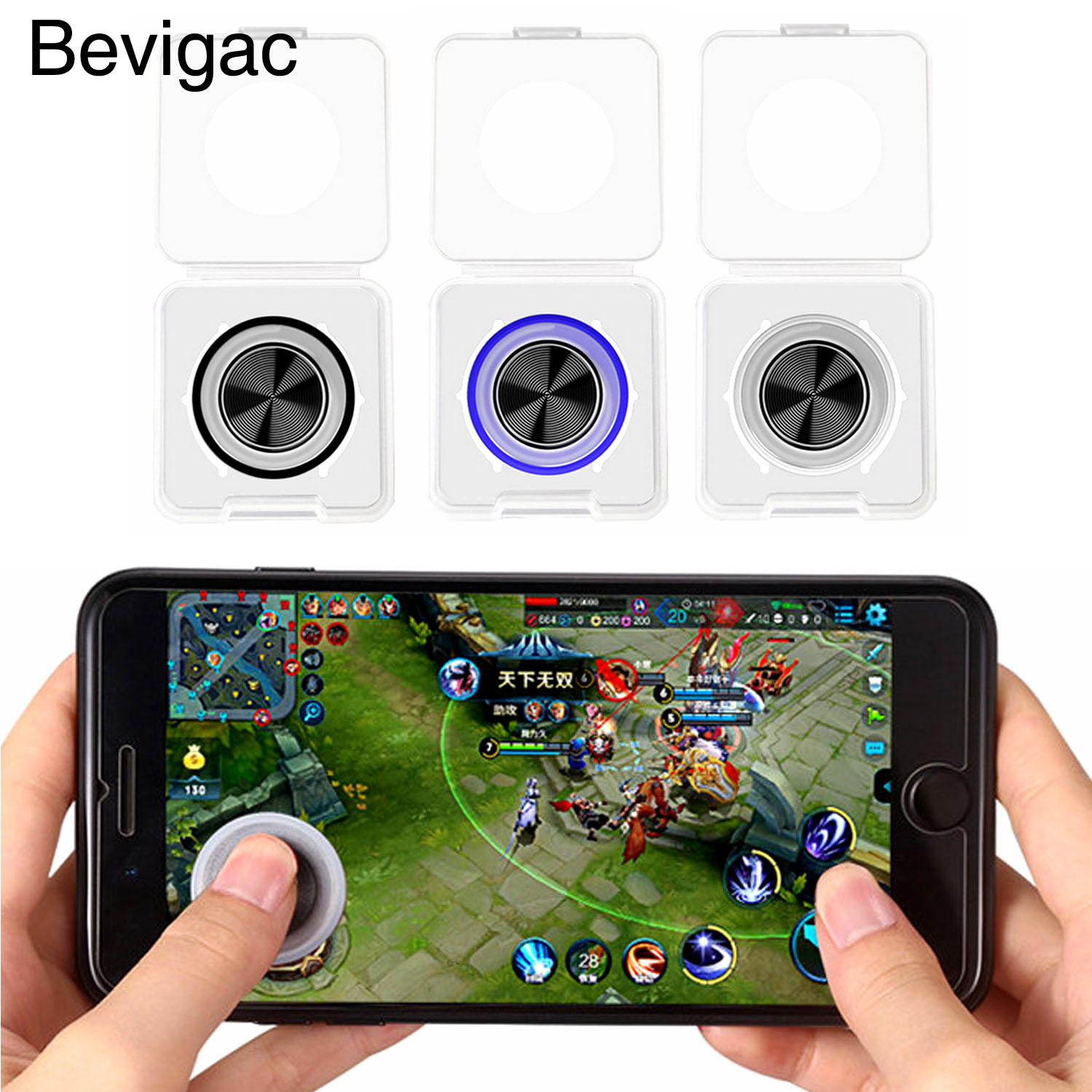 Bevigac Mobile Game Joystick Rocker Touch Screen Joypad Controller with Dust-proof Storage Box for iPhone iPad Samsung Tablet image
