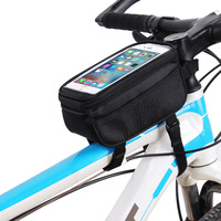Bicycle Bag Cycling Accessories Waterproof Touch Screen MTB Frame Front Tube Storage Mountain Road Bike Bag for 5.0 inch Phone|Bicycle Bags & Panniers|   -