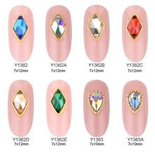 10 шт. цвета: золотистый, для художественного оформления ногтей, кристаллы ромб pear shape стразы нейл-арта камни для ювелирных украшений для дизайна ногтей Поставки Y1362