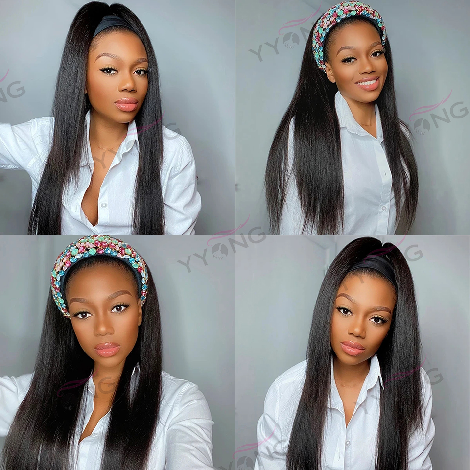 YYong Grip HeadBand Straight Wigs 100%  Wig  Striaight Headband Wig 8-24inch Crochet Machine Wig Free Scarf 3
