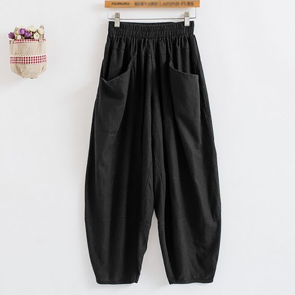 Women Harem Pants Big Pockets Casual Long Pant Autumn Cotton Linen Elastic Waist Trousers Loose Girls Baggy Joggers Bottoms New