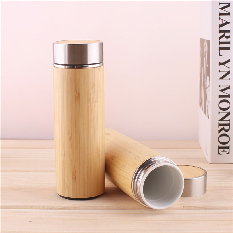 Image 2 - 1PCS/Pack Creative Bamboo Thermos Bottle 450ml Stainless Steel Tumbler Vacuum Flasks Insulated Bottles Coffee Mug For Travel Tea-in Water Bottles from Home & Garden