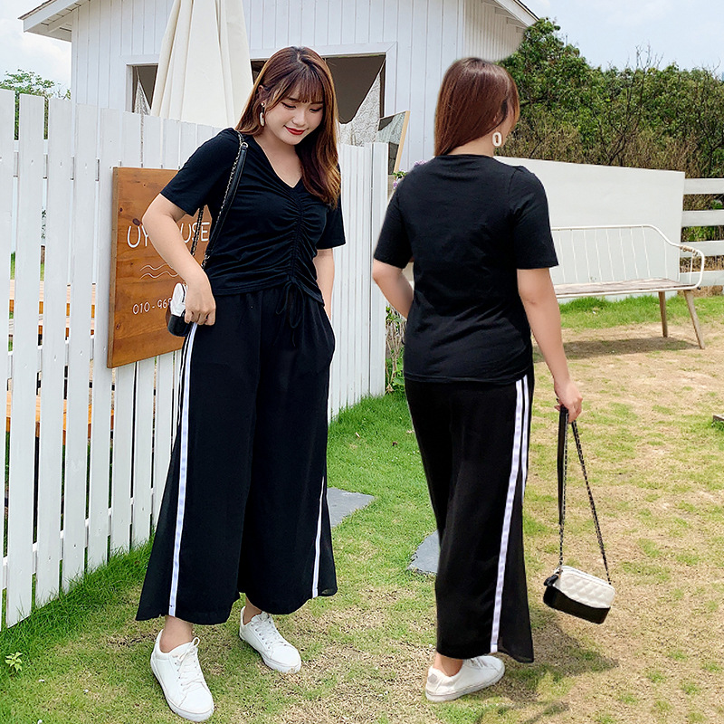 Large Size Dress Loose Pants Set Summer 200 Of Fat Mm Slimming Two-Piece Set Loose Capri Pants Sub-2096