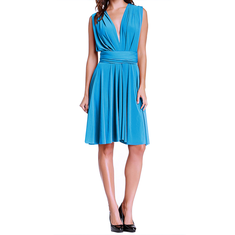 Multi Way Dress For Wedding Party Bridesmaid Fashion Women Convertible Dress Lacing Up Backless High Waist Pleated Midi Dress