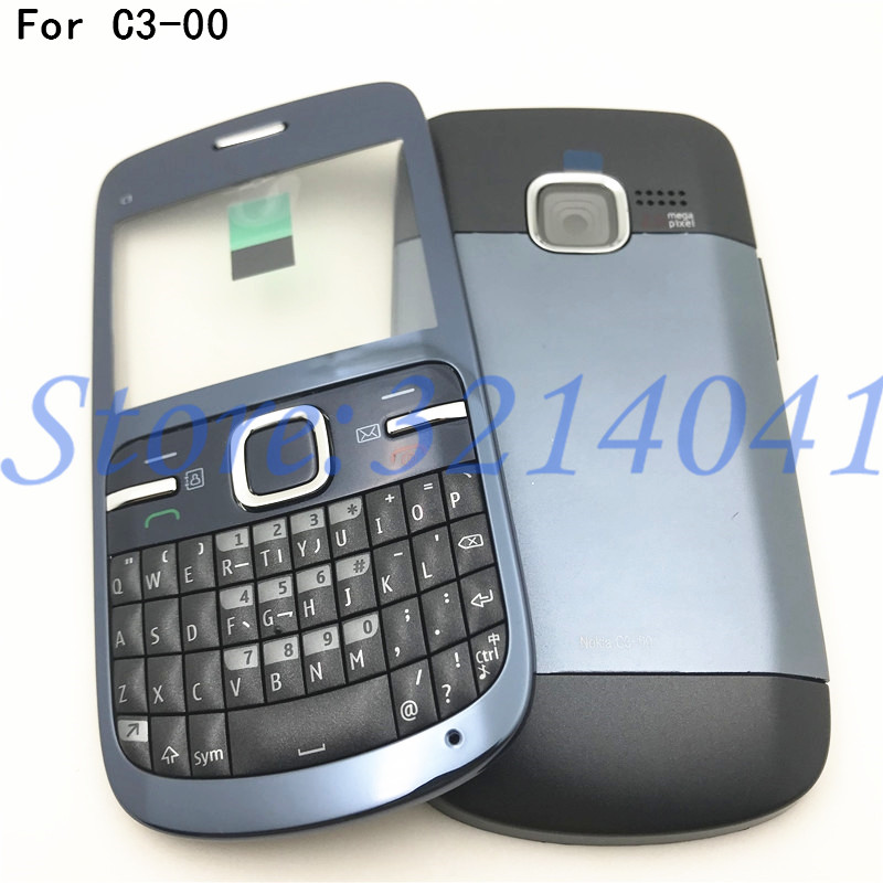 Good Quality Full Housing For Nokia C3 C3-00 Back Case Battery Cover Front+Middle Frame Keypad C3-00 Replacement Part+Logo