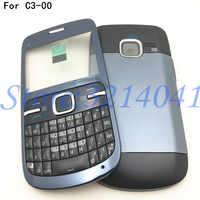 Kaliteli tam muhafazası için C3 C3-00 Case arka pil kapağı ön + orta çerçeve tuş takımı C3-00 yedek parça + Logo