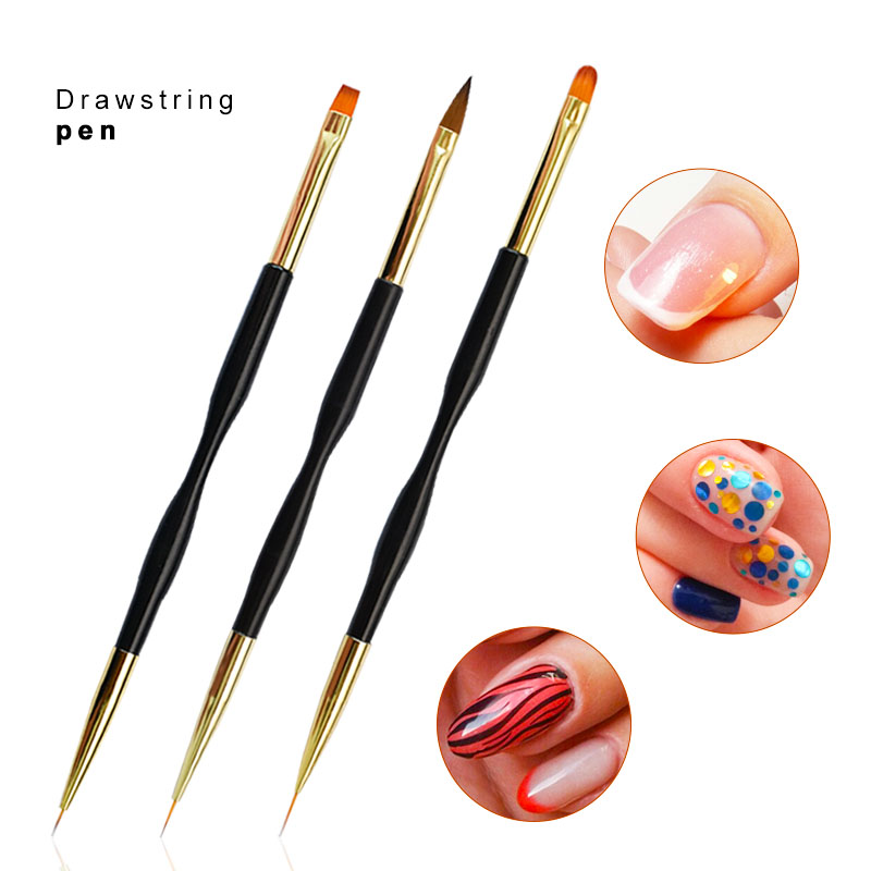 Brushes For Modeling For Nails Drawing Double-ended 7/9/11mm Line Crystal French Design Black Brush For Manicure Tools BS1002