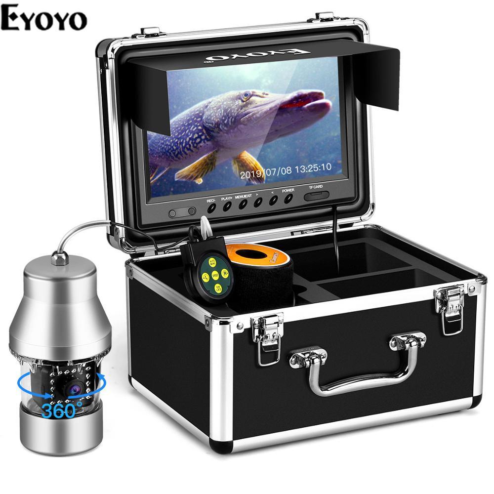 Eyoyo caméra de pêche sous-marine détecteur de poisson vidéo 8GB DVR 9 pouces 1000TVL 360 ° caméra panoramique horizontale 18 lumières infrarouges IR