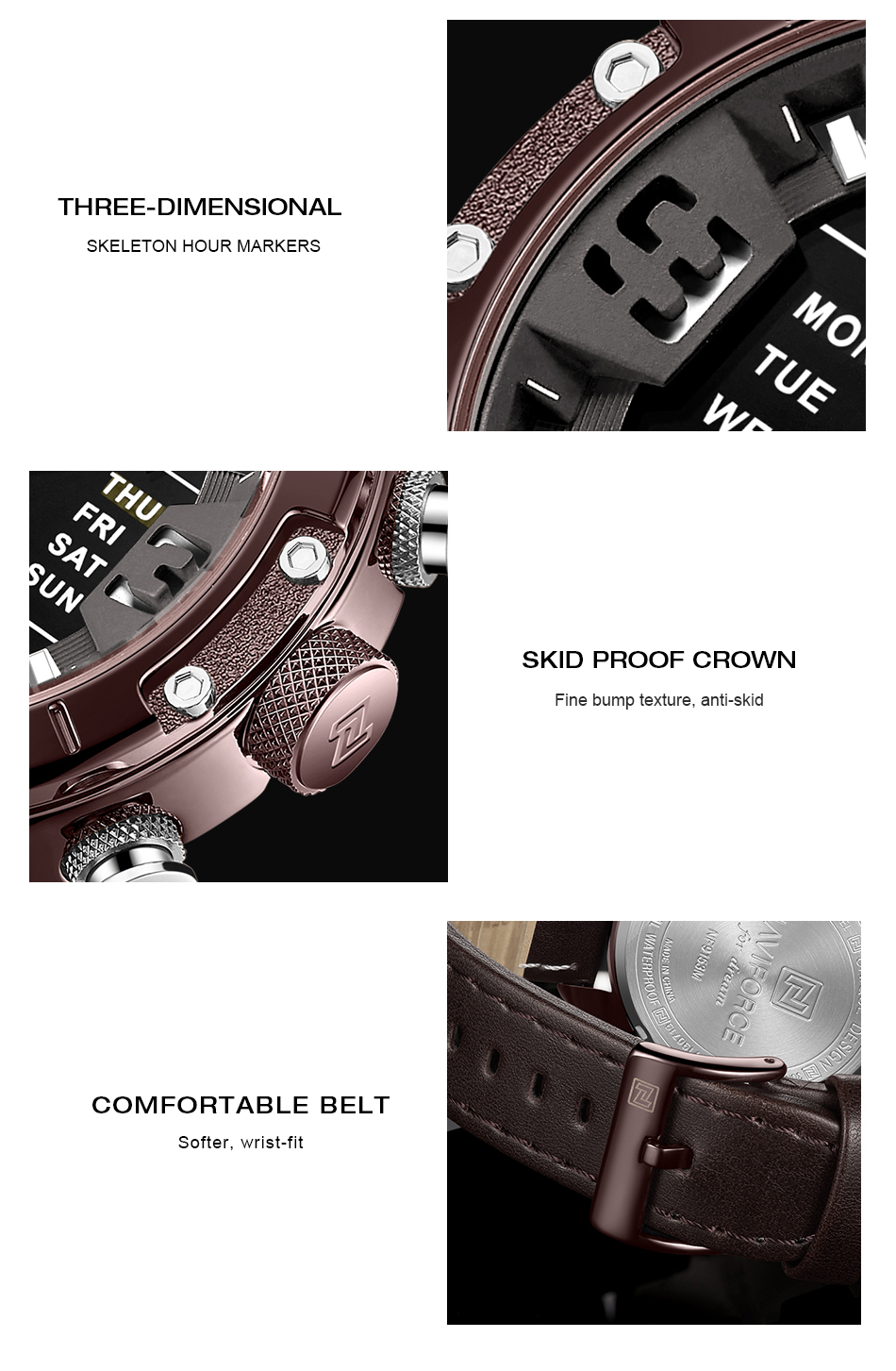 NAVIFORCE Mens Watches Top Brand Luxury Army Military Leather Mens Wristwatch Waterproof Digital Quartz Sports Watches Relogio (8)