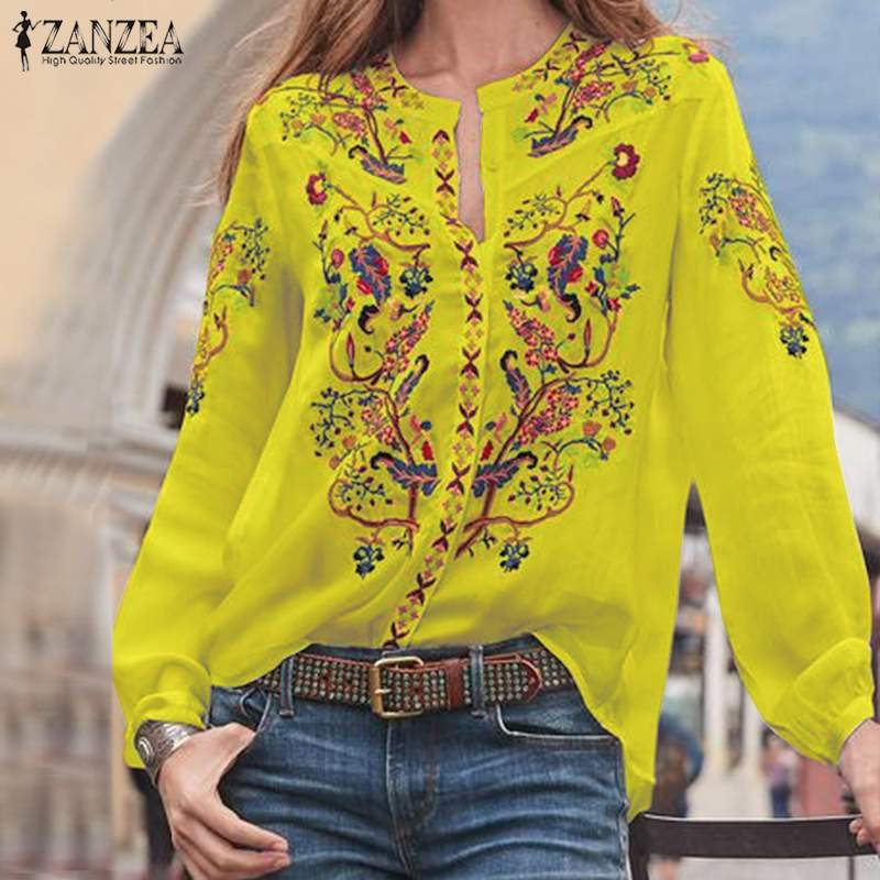 Bohemian Printed Tops Women's Autumn Blouse ZANZEA 2019 Plus Size Tunic Fashion V Neck Long Sleeve Shirts Female Casual Blusas