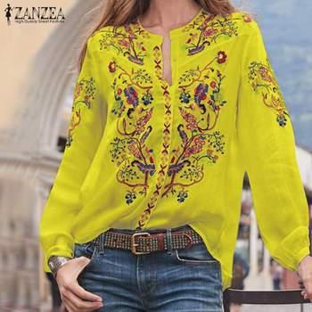 Bohemian Printed Tops Women's Autumn Blouse ZANZEA 2019 Plus Size Tunic Fashion V Neck Long Sleeve Shirts Female Casual Blusas 2