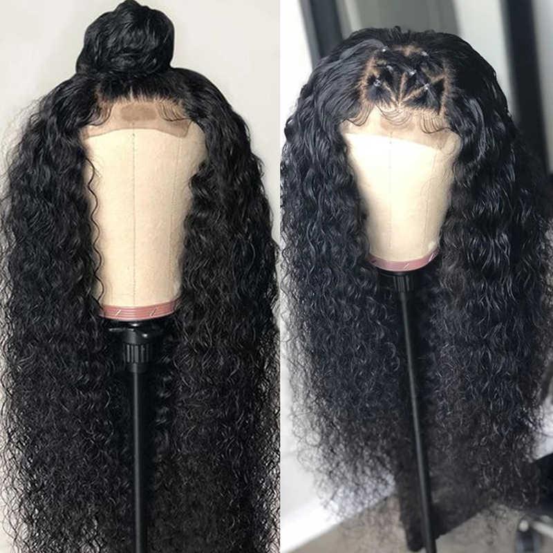 Funky Girl 30-дюймовый парик с закрытием шнурка, 4x4 бразильские парики шнурка предварительно отобранные Remy человеческие волосы парики для чернокожих женщин 150% 180%
