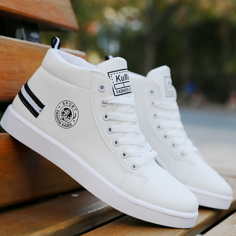 Men's  Winter Plush Shoes Boys Comfort Sneakers White Leather Shoes Men High Top Sneakers 2021 Trendy Style Vulcan Boys Shoes