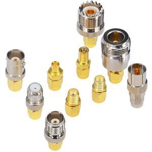 Image 3 - 10 Set di tipo SMA Kit Adattatore SMA maschio a N/F/BNC/UHF/MCX/SMB/TV/TNC maschio Dritto Nichel Placcato Oro Prova Convertitore