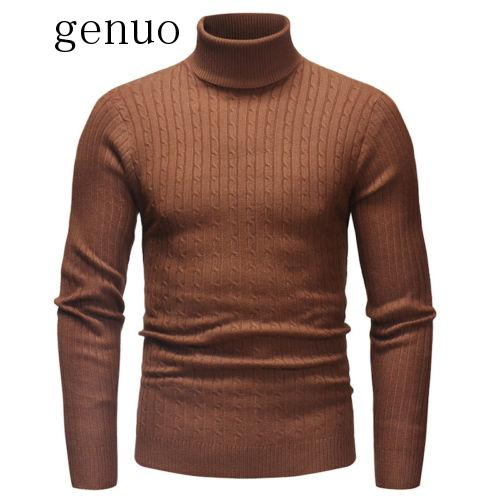 New Mens Turtle Neck Long Sleeeve Cotton Sweaterss 2020 New Autumn Winter Warm Crochet Solid Casual Sweaters Tops M-2XL