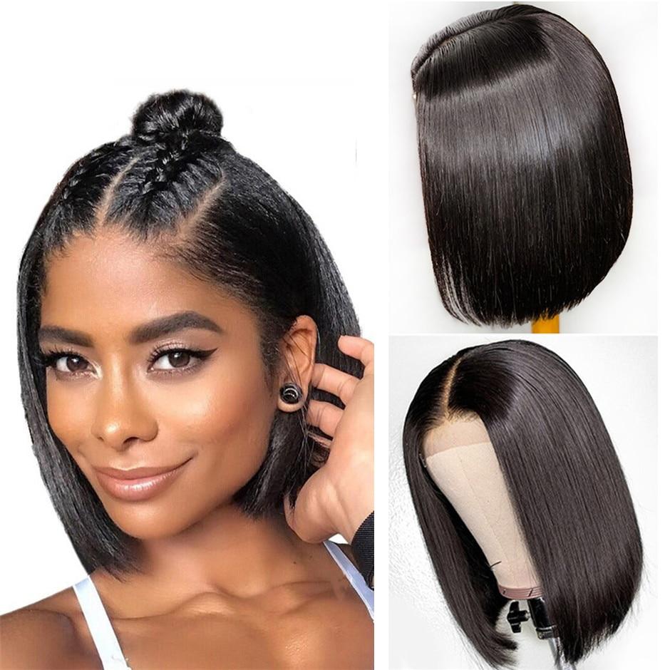 Bob-pelucas de cabello humano liso para mujeres, pelo brasileño prearrancado con cierre de encaje 4x4, línea de cabello Natural de 8-14 pulgadas