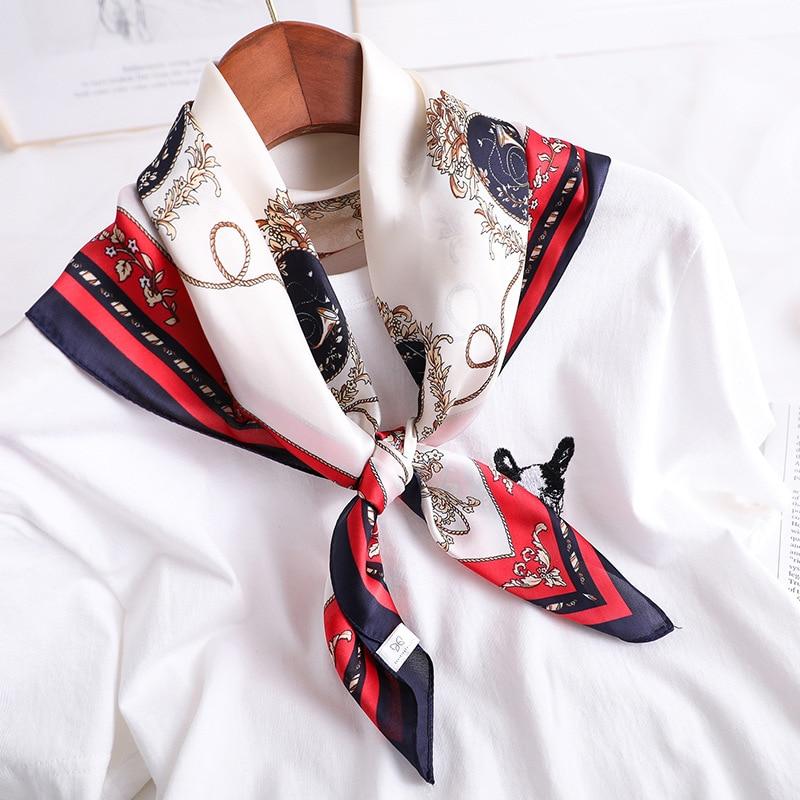 Luxury Silk Satin Neck Scarf For Women Small Shawls Fashion Print Kerchief Hair Scarves Female 70*70cm Square Scarfs For Ladies