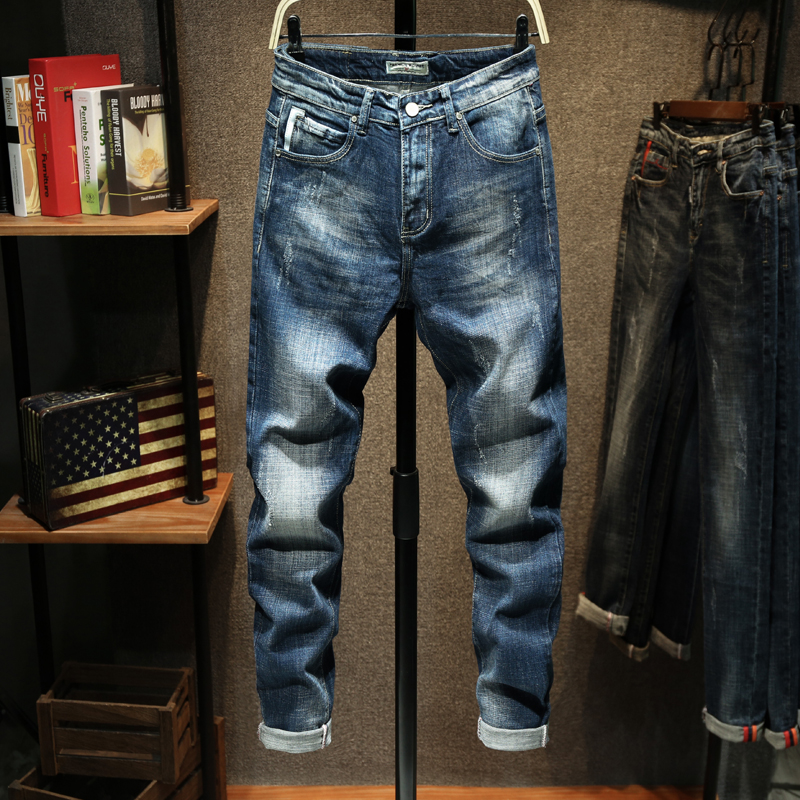 KSTUN Jeans Men Slim fit Blue Stretch Thick Autum and Winter Casual Denim Pencil Pants Striped Fashion Pockets Desinger Men's Jeans 11