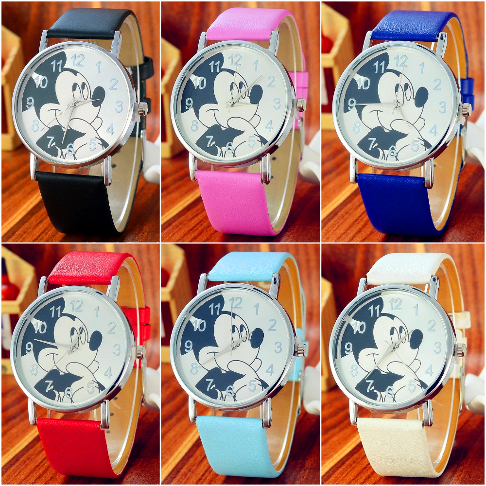 Fashion Kids Watches Girls Cartoon Mickey Watch Children Clock Leather Digital Watches Kids Boys Birthday Gift Quartz Wristwatch